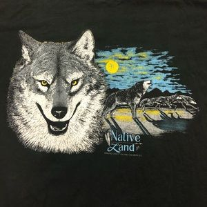 Vintage Howling Wolf Native Land Black T-shirt